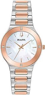 Bulova 98R274 Women's Futuro White MOP Dial Steel Diamond Watch