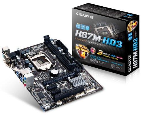 Gigabyte GA-H87M-HD3 Mainboard Sockel LGA 1150 (Micro-ATX, Intel H87, 2X DDR3 Speicher, 6X SATA III, DVI-D, HDMI, 4X USB 3.0)