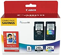 Canon PG-240XL/CL-241XL with Canon GP502 Glossy Photo Paper - Combo Pack Ink, 2-pack (4 total ink cartridges)