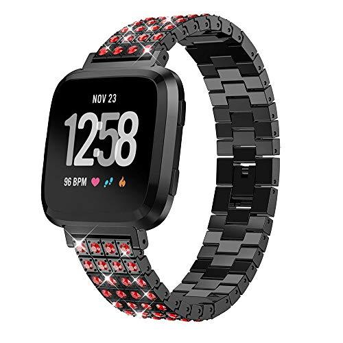 XZZTX Compatibel met Fitbit Versa Lite Horloge Band, Dames Kleurrijke Diamant RVS Vervangende Band Polsband Armband voor Versa Lite Smart Horloge