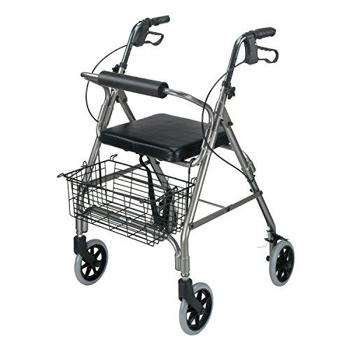 DMI Freedom Lightweight Folding Aluminum Rollator Walker with Adjustable Handle Height, Cushioned Flip Up Seat and Convenient Storage Basket, Titanium