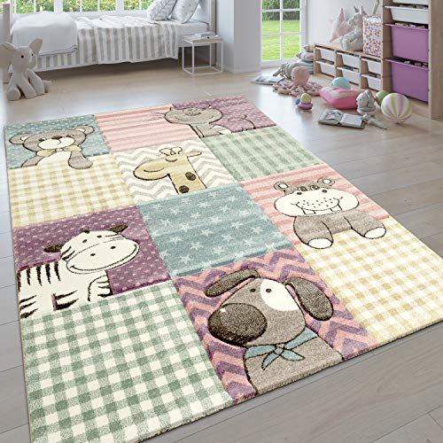 Paco Home Kinderteppich, Moderner Kinderzimmer Pastell Teppich, Niedliche 3D Tiermotive, Grösse:80x150 cm, Farbe:Mehrfarbig