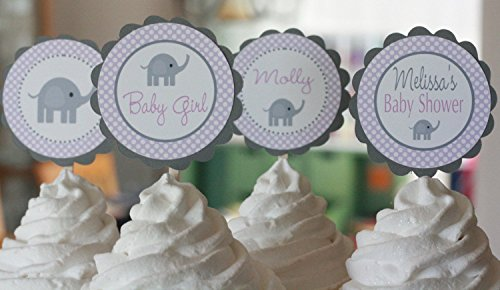 12 - Elephant Baby Shower Cupcake Toppers - Purple Lavender & Grey Polka Dot - Party Packages, Favor Tags, Banners, Door Signs Available