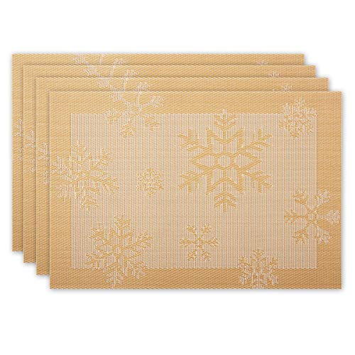 CITÉTOILE Table Mats Set of 4 Tablecloths Placemat Individual Dining Table Christmas Decoration Elegant PVC with Rectangle Snowflake Motif 45x30cm Slit