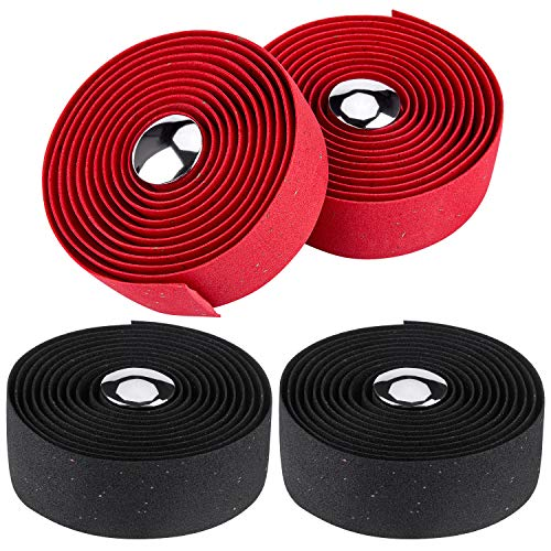 Awpeye Bicycle Handlebar Tape Cork Bar Tape with End Plugs for Road Bike and Cycling - 4 Rolls (Black, Red)