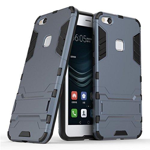Funda para Huawei P10 Lite (5,2 Pulgadas) 2 en 1 Híbrida Rugged Armor Case Choque Absorción Protección Dual Layer Bumper Carcasa con Pata de Cabra (Azul Negro)