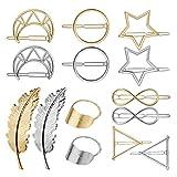 Mollette Capelli Metallo, GuKKK 14 Pezzi Geometriche Forcine, Piuma Cerchio Fermagli per Capelli, Hollow Double Triangle Loop Round Moon Geometria Forcina Accessori Decorativi per Donne