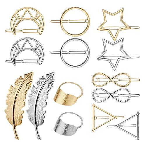 14 Stück Metall Haarspange Geometrie Haarspange,GuKKK Damen Süße Haarschmuck Hair Clip, Feder Kreis Dreieck Mond Form Haarnadeln für Hochzeit Party Mädchen Geschenk
