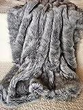 Luxury Fake Fox Fur Throw Blanket Fox Faux Fur Throw Blanket Gray 79'x90' Queen Size Fake Fur Throw Blanket