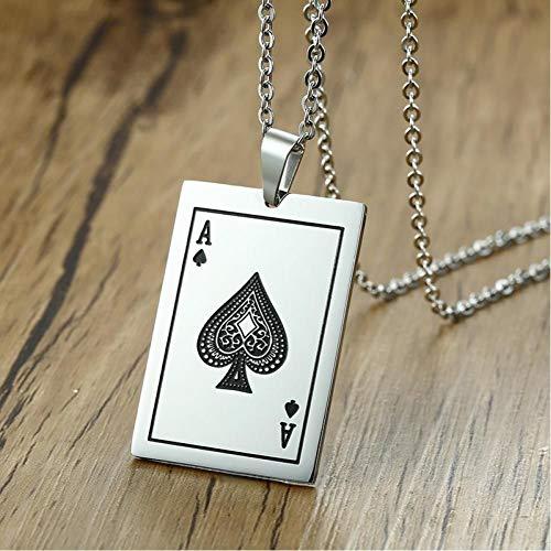 YIYYI Halsketting Spelen Kaart Mannen Ketting RVS Poker Ace Spades Een Hanger Grappige Leuke Punk Gift