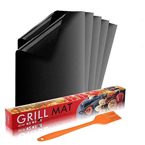 Grillmatte 5er+1*grillpinsel Verdicken Antihaft zum Grillen und Backen   aus Silikon mit Teflon Antihaftbeschichtung für bis 300°C   Wiederverwendbar   je 40x33 cm  mit Premium Silikon grillpinsel