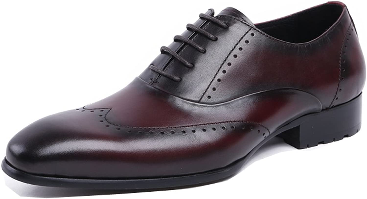 Dilize Men's Classic Pointed Toe Leather Wedding Party Brogue shoes