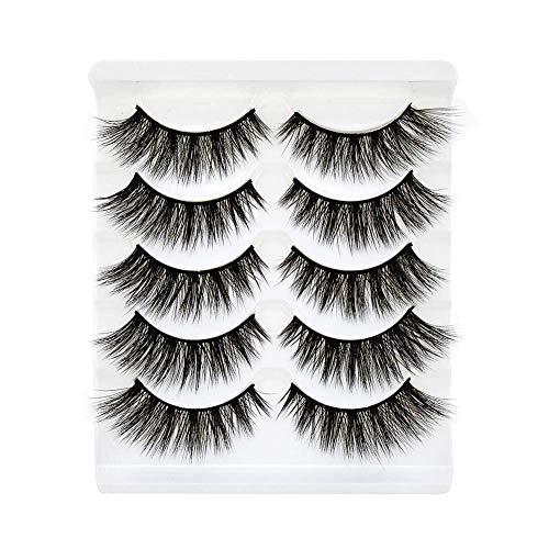 Innova Creations Eyelashes, 3D long eye- lashes Mink Fake Eyelashes Handmade Dramatic Thick False Eyelashes Black Nature Fluffy Long Soft Reusable(1 Pairs)(Black)