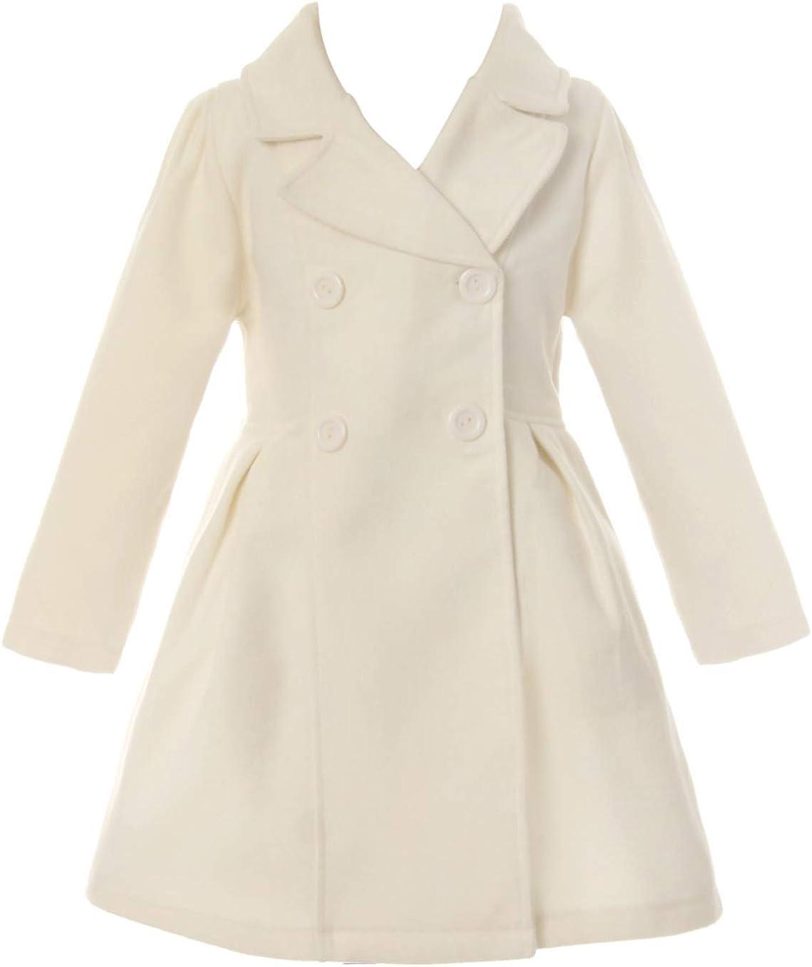 Girl Winter Dress Coat Long Sleeve Buttons and Pockets Flower Girl Jacket
