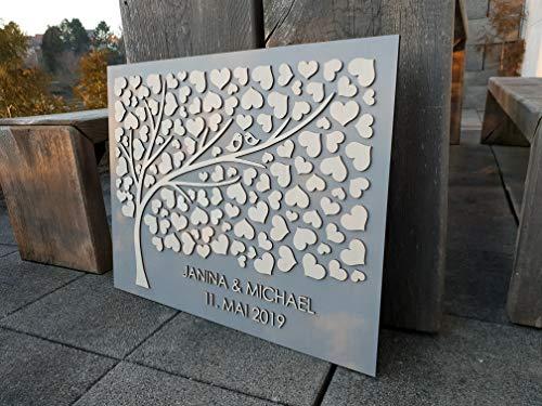 Manschin Laserdesign Personalisiertes 3D Gästebuch aus echtem Holz - Baum - Gästebuch Alternative...