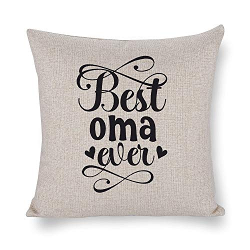 Cotton Linen Pillowcase Pillow Cushion Cover Best Oma Ever Black with Hidden Zipper Soft Decorative Square for Home Bedding Car Covers 18×18Inch