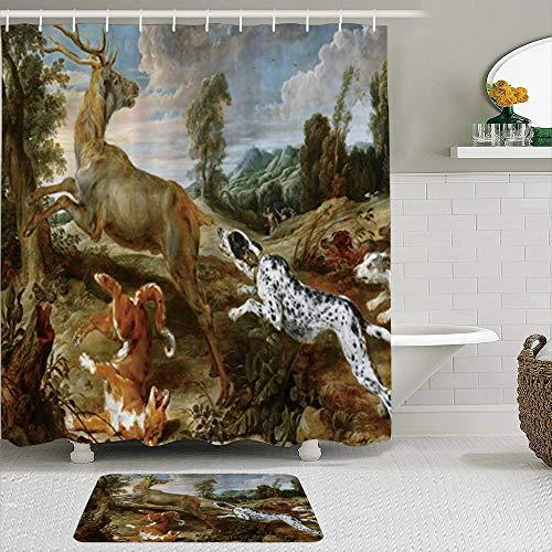 CVSANALA Juego de Cortinas de Ducha de 2 Piezas con Alfombra de baño Antideslizante,Perro cazando Ciervos en la Pintura al óleo del Bosque Salvaje del país,12 Ganchos,Decoración de baño Personalizada