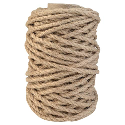 Topbuti 5mm Natural Jute Twine 100 Feet Braided Jute Rope, Crafting Twine String Thick Twine for DIY Artwork, Christmas Twine, Gift Wrapping, Gardening Applications