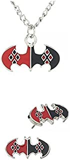 Harley Quinn Symbol Charm Necklace and Earring Stud Set New Licensed