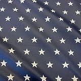 Stoff Meterware wasserdicht Sterne marine weiß Tischdecke