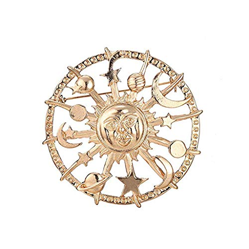 YO-HAPPY Goldener Stern Mond Sonne Galaxien Ruder Brosche Zinn Anstecknadeln Modeschmuck
