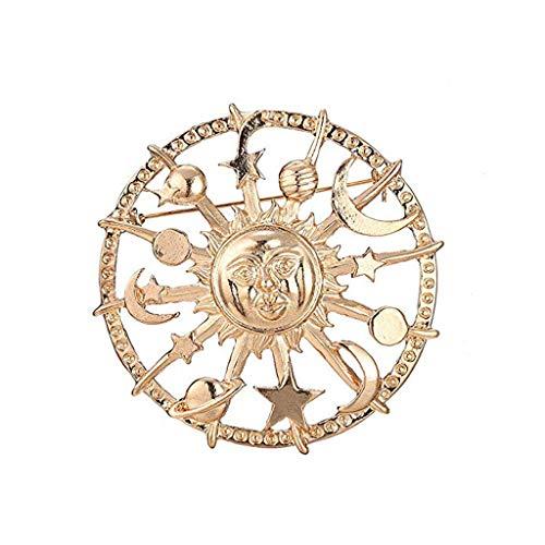 qingqingR Goldener Stern Mond Sonne Galaxien Ruder Brosche Zinn Anstecknadeln Modeschmuck