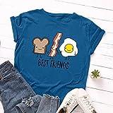 TRonin Manches Courtes lâche Autour du Cou des Femmes européennes et américaines Les Femmes t-Shirt créatif Pain et des œufs (Color : Blue, Size : XXXL)