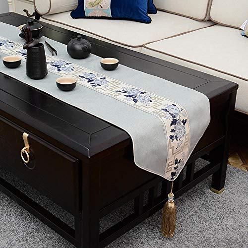 Branfan nieuwe Chinese Zen tafel Runner moderne minimalistische eettafel theetafel linnen lange tafelkleed Chinese stijl theetafel tafelkleed -4_35x180cm (geschikt voor 1,2 meter rond de tafel)