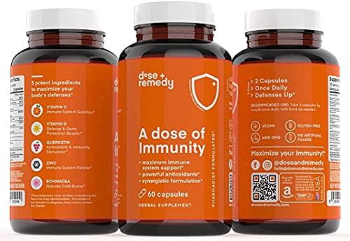 A Dose of Immunity Immune Support Supplement for Respiratory Health & Wellness Bioflavanoids Vitamin C Vitamin D Zinc Quercetin B Vitamins Echinacea Bromelain for Antioxidant Vegan Non GMO (3 Pack)