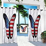 Aishare Store - Cortinas de exterior para porche, americana, bandera como una mariposa grande, 84 pulgadas de largo, extra ancha, cortina aislante térmico para pérgola/terraza (1 panel)