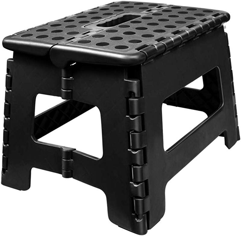 Usmascot Non Slip Folding Step Stool Sturdy Safe Enough Holds Up To 350 Lb 9 Inch Footstool For Adults Or Kids Folding Ladder Storage Opens Easy For Kitchen Toilet Camping Ect Black M