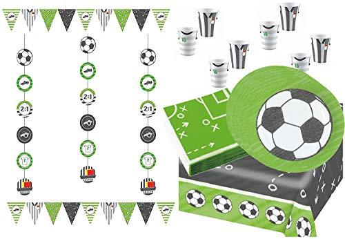 Libetui Fussball Party Dekoration & Geschirr Set Dekoset mit Partykette Wimpel Teller Becher Servietten für Party & Geburtstag