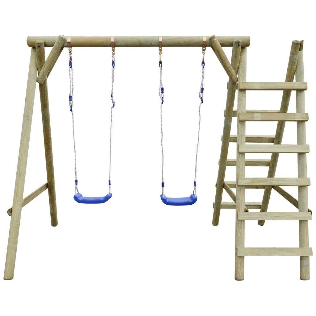 Tidyard Columpio Jardin Asiento con Escaleras Columpio de Madera Swing para Infantil 2 Columpios con Cuerdas Ajustables Ganchos de Metal con Certificación TÜV Madera de Pino 204x154x210cm: Amazon.es: Juguetes y juegos