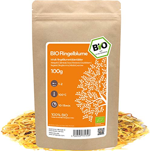 amapodo Bio Ringelblume Tee lose 100g Ringelblumenblüten Ringelblumentee