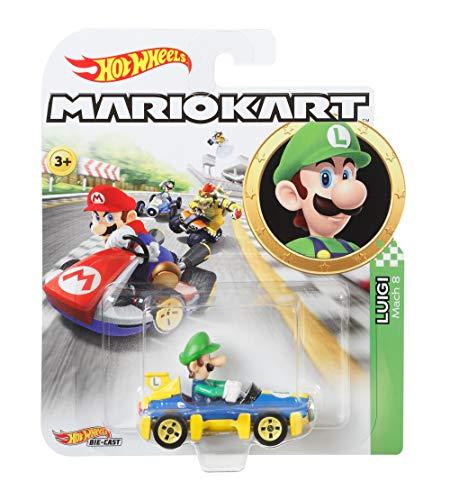 Hot Wheels GBG27 - Mario Kart Replica 1:64 Die-Cast Spielzeugauto Luigi, Spielzeug ab 3 Jahren