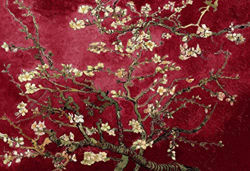 FloralStem Leinwandbild, Motiv Van Gogh blühender Mandelbaum, 76 x 51 cm, Kastanienbraun