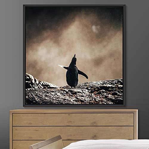 "bestdeal depot Penguin Framed Canvas Wall Art Prints for Living Room,Bedroom Framed Artwork Decoration Ready to Hang - 16""x16"" inches"