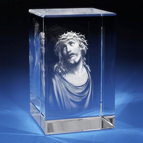 3D Photo Crystal Gift - XL Portrait Shape Jesus Etched, Religion Engraved Glass | Birthday, Anniversary, Wedding, Mother's Day, Father's Day, Christmas - Perfect for Any Occasion