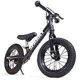 【組立済】【キックスタンド付き】 ブレーキ付ゴムタイヤ装備 ペダルなし自転車 キッズバイク SPARKY スパーキー (BLACK)