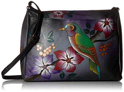 Anna by Anuschka Damen, Handpainted Leather Medium East West,Bird On Branch-Grey Umhänge-Handtasche, Vogel auf AST grau, Einheitsgröße