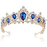 Coucoland Braut Tiara Hochzeit Krone Luxus Prinzessin Diadem Kristall Geburtstag Krone Damen Kostüm Accessoires (Stil 4 - Gold Blau)