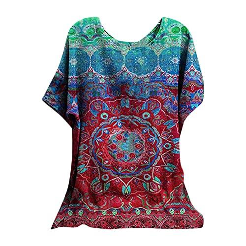 AMhomely Camisas y blusas para mujer con cuello hueco y puños de encaje para mujer, blusa de manga corta, camisa de lino, blusa de oficina