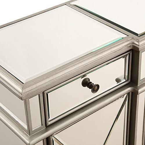 "Elegant Lighting 3 Drawer 4 Door Cabinet in Silver Clear 60"" x 14"" x 36"""
