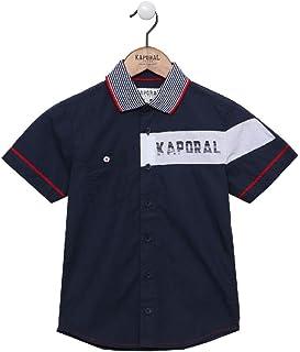 Kaporal - Chemise à Manches Courtes en 100% Coton, col à Rayures, Coupe Droite - Elian - Garçon