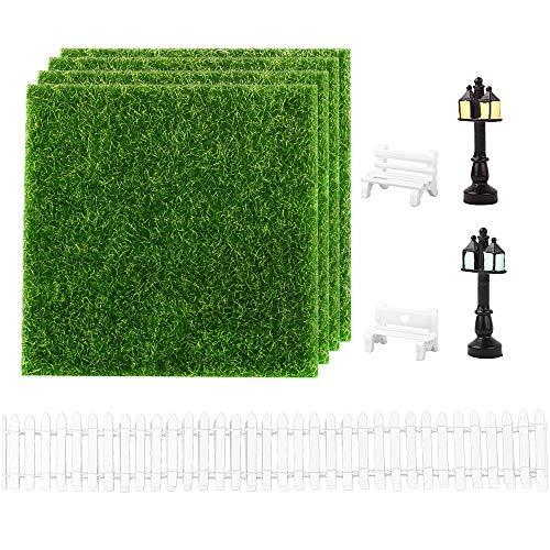 Mini Vallas Madera para Jardín + 4pcs Césped Artificial 2 Farolas 2 Bancos en Miniatura para Micro Paisajes Jardín en Miniatura