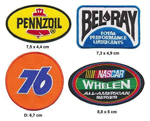 Pennzoil 76 Bel Ray NASCAR WEHLEN Aufnäher Patches 4 Stück Motorsport USA