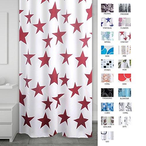 RIDDER 403306 Duschvorhang Textil ca. 180 x 200 cm, Star rot