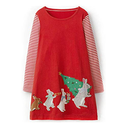 FreeLu Girls Christmas Dresses Longsleeve Cartoon Dress Striped Casual Cotton T-Shirt(Red Bunny,5-6T)