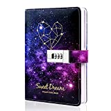 Starry Sky Lock Leather Diary,Combination Lock Journal,Personal Constellation Writing Notebook,Gifts for kids girls boys women,Hard Cover,Colored Pages,Size B6(7.4 X 5.1 Inch)