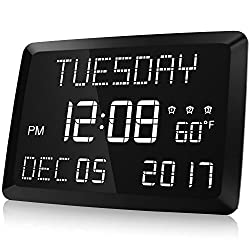 Digital Clock, Raynic 11.5 Large LED Word Display Dimmable Digital Wall Clock,Adjustable Brightness Digital Alarm Clock with Day and Date,Indoor Temperature,Snooze,12/24H,DSTfor Home, Office,Elderly